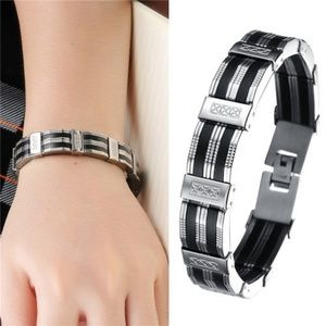 Other - Sharp SS & Silicone Link Unisex Bracelet New
